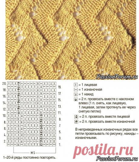 Весенний узор | Вязание спицами для начинающих