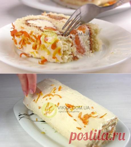 Рецепт бисквитного рулета со сметанным кремом и мандаринами - VIKKA.COM.UA