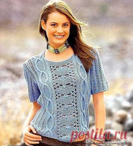 Голубой узорчатый пуловер - роскошный и элегантный