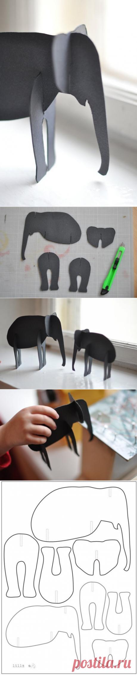 Делаем слонов из картона