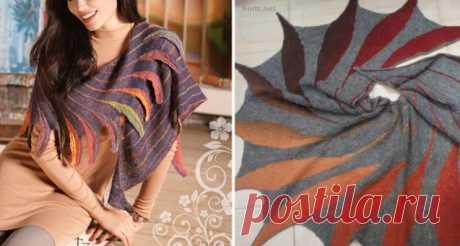 Шаль (вязание укороченными рядами) / Вязание спицами / Вязание для женщин спицами. Схемы вязания спицами