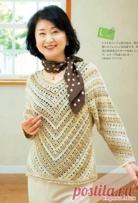 El pulóver chiné vinculado por la esquina del orificio (dos variantes de color). El gancho. - la MODA TEJIDA + PARA las SEÑORAS no DE MODELADO - el País de las Mamás