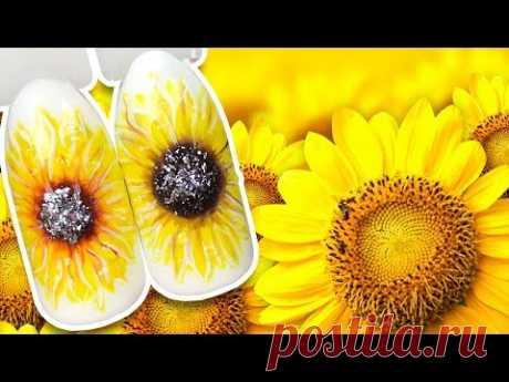 🌻 Лучезарный Подсолнух с Объёмными Каплями Росы и Блёстками 🌻 Пошаговый МК / Летний Дизайн Ногтей