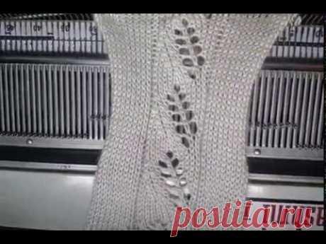 Leaf pattern design in knitting machine। पत्ती डिजाइन बुनाई मशीन में।
