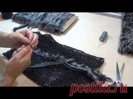 Вязание мехом по сетке