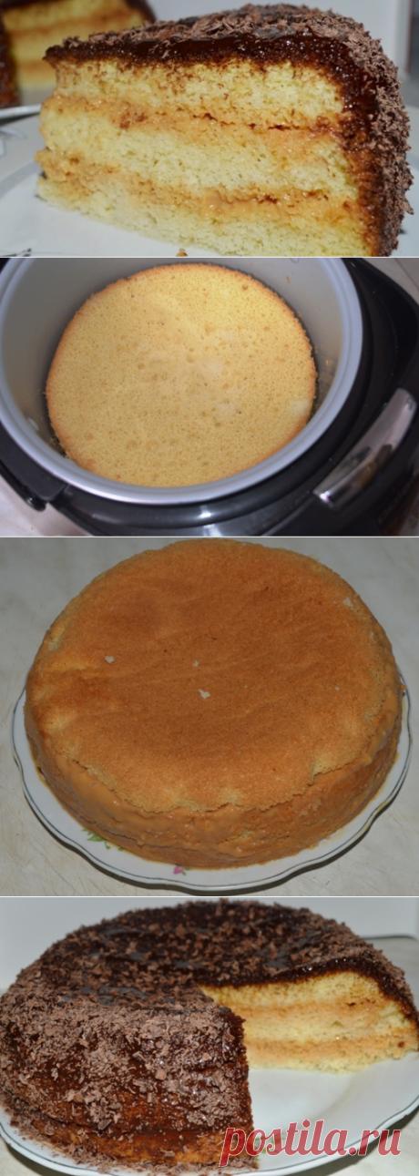 Нежный  бисквитный торт со сгущенкой в мультиварке | Вкусный день
