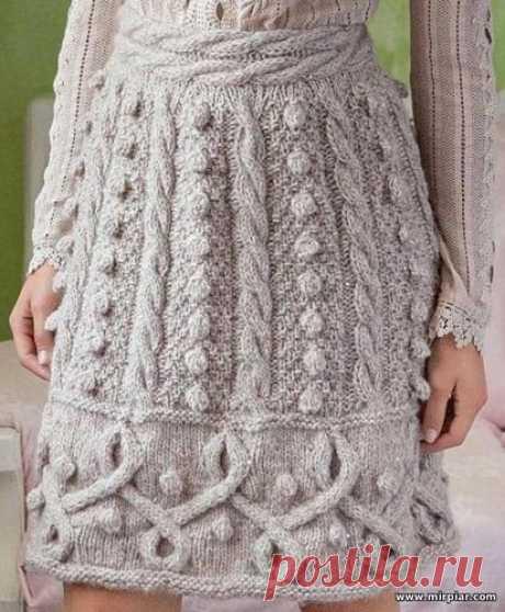 вязаная юбка, вязание, схемы вязания, узоры вязания, спицы, косы, шишечки - Модели со схемами и узорами - Форум по вязанию