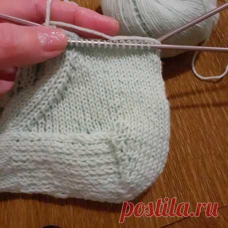 Вязание усиленной,круглой пятки носочки или французская пятка