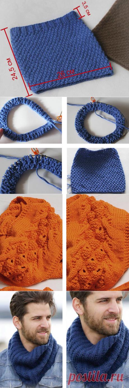 Как связать шарф снуд спицами - для начинающих фото и видео уроки