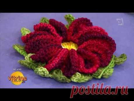 Flor em Crochê com Maria José   Vitrine do Artesanato na TV - TV Gazeta