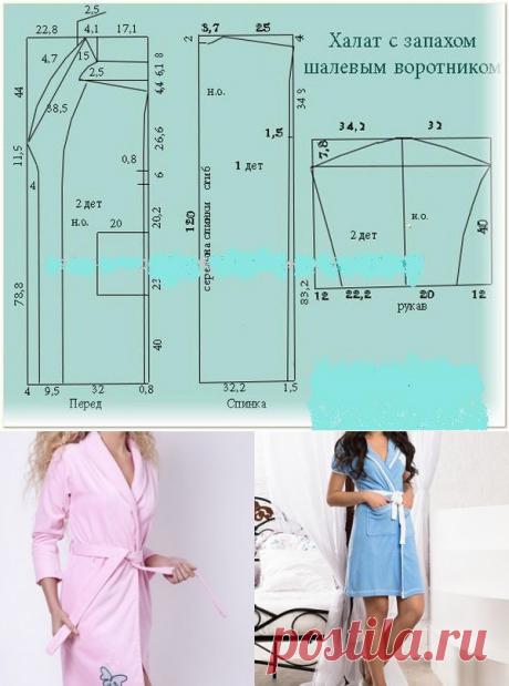Как сшить халат с запахом своими руками без выкройки
