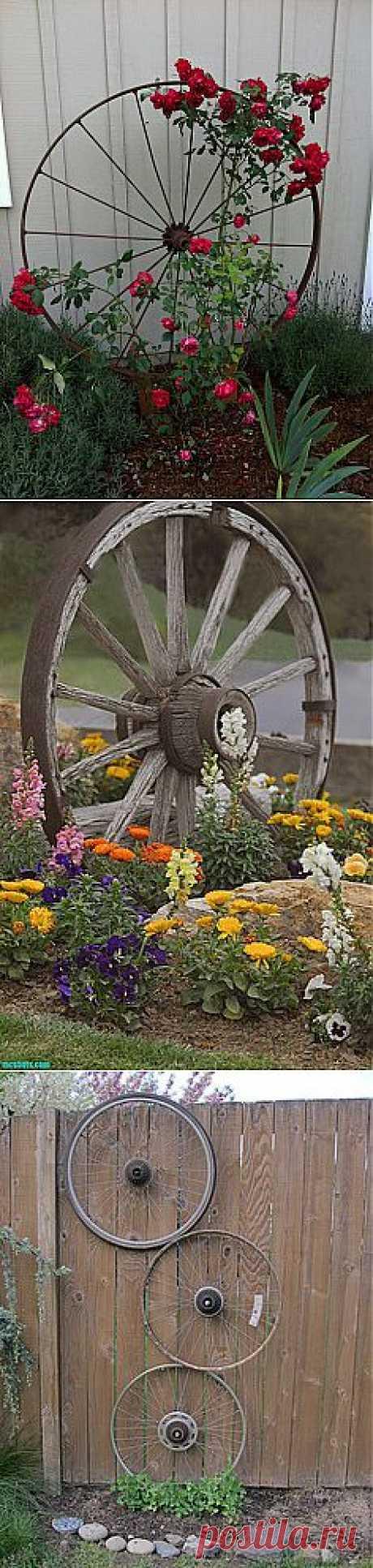 Wagon Wheel as Trellis | Gardening/Landscaping