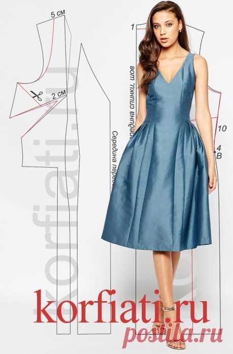 Выкройка платья с заниженной талией от А. Корфиати Выкройка платья с заниженной талией. Эффектное платье из переливчатой тафты имеет сложный крой, и с моделированием придется повозиться. Но, если вы хотите..