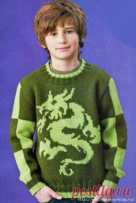 Свитер с драконом для мальчика своими руками!