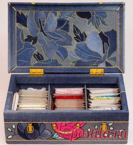 """Мастер-класс """"Джинсовый чемодан для рукоделия в технике кинусайга"""" Со слов автора.Добрый день!В качестве небольшого вступления к повествованию о превращениях деревянного чемодана, мне хотелось бы поведать вам об одной особенности своего характера. Я не люблю выбрас..."""