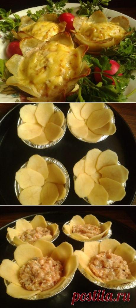 Картофельные цветы с фаршем