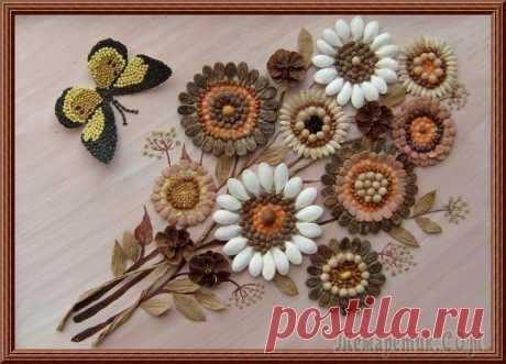 Картины из семян и злаков Аппликация семенами и злаками. Картины выполнены из различных семян и злаков. Семена не окрашенные, всё натуральных оттенков. Фон-манная крупа и какао-порошок.