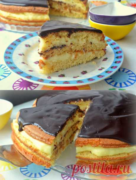 MY FOOD or is checked by Lisa: Boston cream cake.