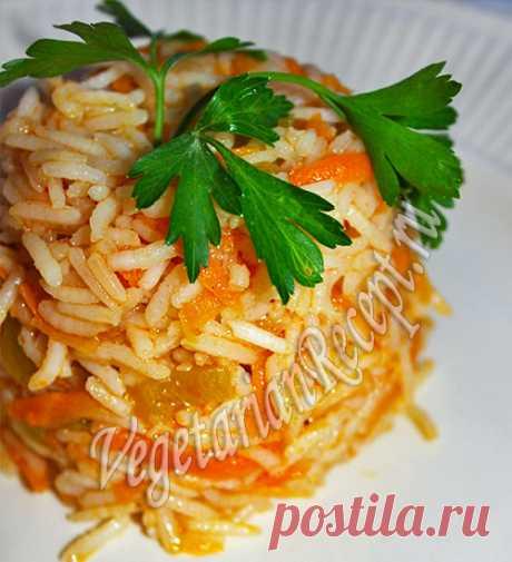 Рецепт: рис с болгарским перцем и морковью Рис с перцем и морковью разнообразит основные блюда и украсит стол стоим ярким цветом. Простой рецепт на каждый день.