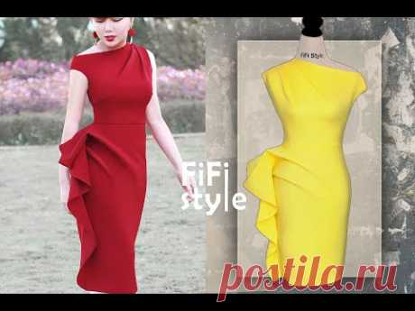 FiFi Style : Дизайнерское платье с квадратным вырезом и складками