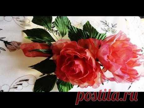 Нежная роза из шелка
