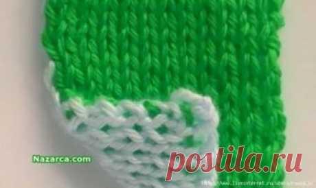 Двустороннее вязание разными цветами нитей.Видео МК.