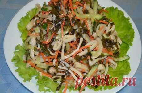Салат с кальмарами и морской капустой - вкусно и полезно