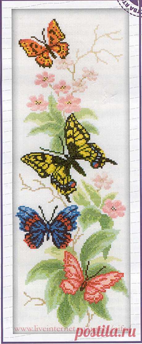 Вышивка крестом, схемы Бабочки и цветы RTO M-146