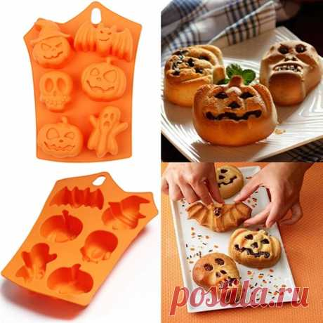 6 grids pumpkin bat skull ghost shape silicone mold candy chocolate mold for halloween party decoration Sale - Banggood.com