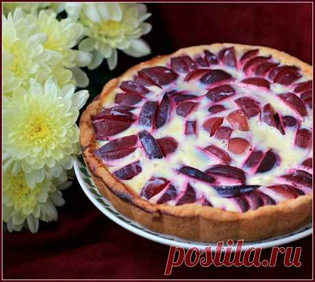Plum pie under cream from condensed milk!