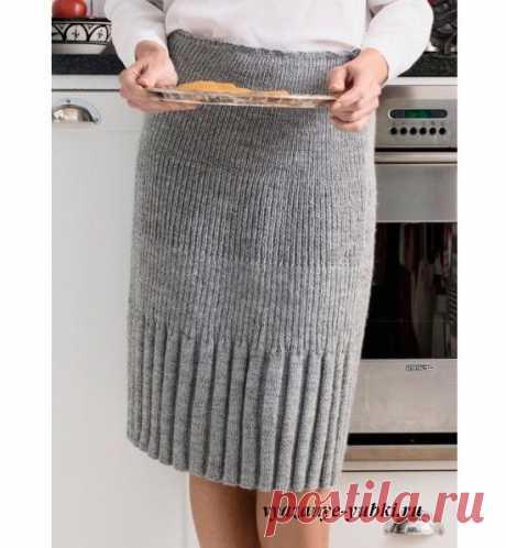 Вязаная юбка-карандаш спицами резинкой, описание вязания