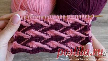 Очень плотный двухцветный узор со снятыми петлями – Ленивый жаккард «Плетенка»