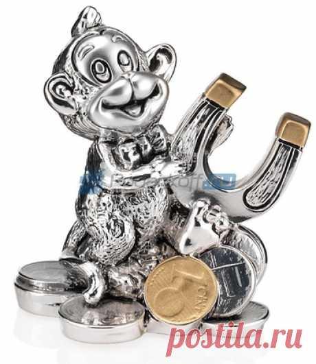 """Символ 2016 года. Статуэтка """"Обезьянка с подковой"""", посеребрение купить за 2820 руб."""
