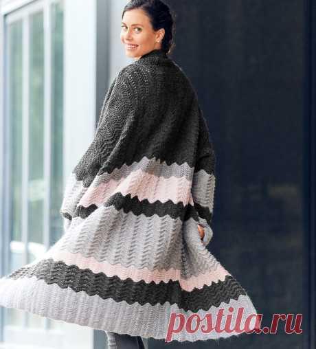 Трехцветное пальто - схема вязания спицами с описанием на Verena.ru