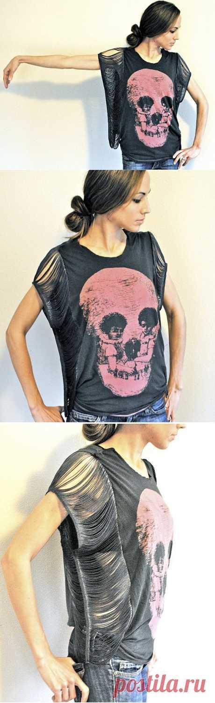 Замена рукавов бахромой / Футболки DIY / Модный сайт о стильной переделке одежды и интерьера