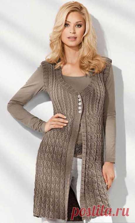 Жилет спицами 52 – 54 размера – 7 моделей со схемами и описанием для женщин и мужчин — Пошивчик одежды