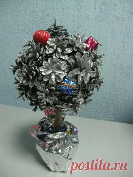 Новогодний топиарий из шишек. Сосновый шар. Мастер-класс с пошаговыми фото