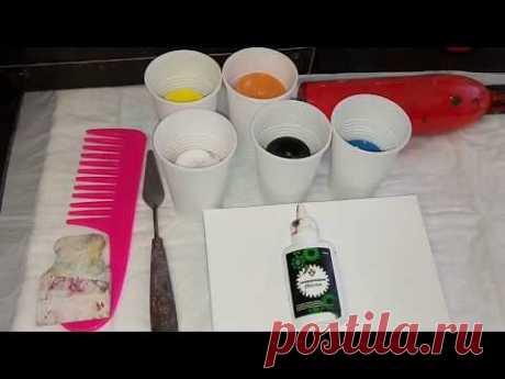 Замес краски с клеем ПВА. Силикон+расческа в акриловой заливке. Урок  по шагам. AcrylicFluidPouring.