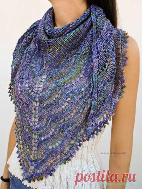 Красивая шаль. Описание, схема (Вязание спицами) | Журнал Вдохновение Рукодельницы