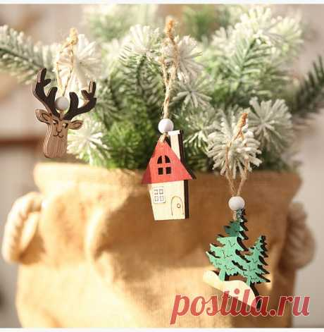 Рождественские украшения деревянные подвески на елку  https://s.click.aliexpress.com/e/O2EV5LbK?product_id=..