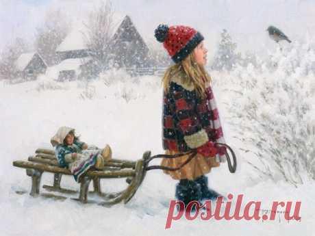 Зима и дети - удивительные картины Роберта Дункана