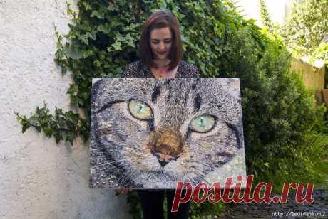 Очаровательные коты из бусин и пуговиц (14 фото).