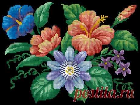 Вышивка крестом букет цветов. Cross-stitch a bunch of flowers   Домоводство для всей семьи.