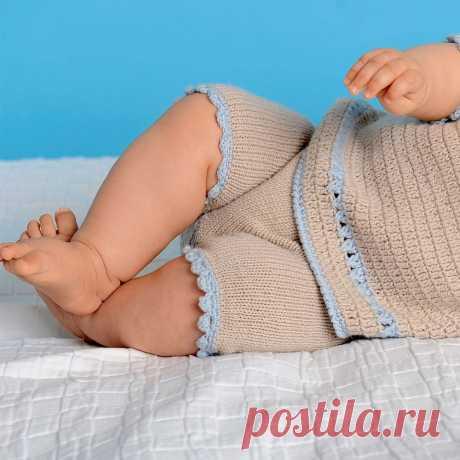 Детские штанишки с волнистой отделкой - схема вязания спицами с описанием на Verena.ru