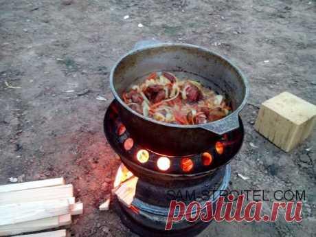 Печь для казана из колёсных дисков (11 фото+описание изготовления)