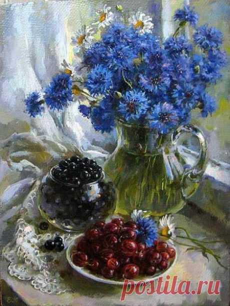Картины по номерам 40х50 - Васильки и ягоды
