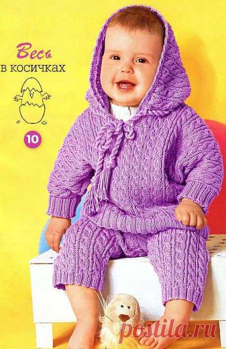 """Пуловер с рукавами """"летучая мышь"""" и штанишки спицами."""