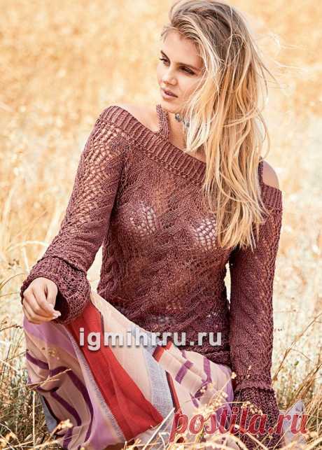 Ажурный легкий пуловер на бретелях. Вязание спицами со схемами и описанием