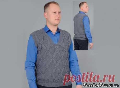 Мужской жилет с узором ромбы | Вязание для мужчин спицами. Схемы вязания