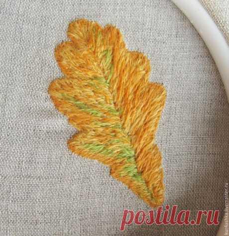 Создаем брошь «Дубовый лист» в технике объемной вышивки гладью